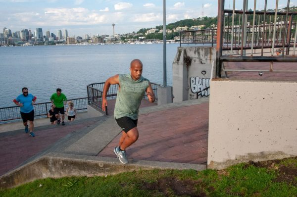 Johnny crushing the stairs at Gas Works Park