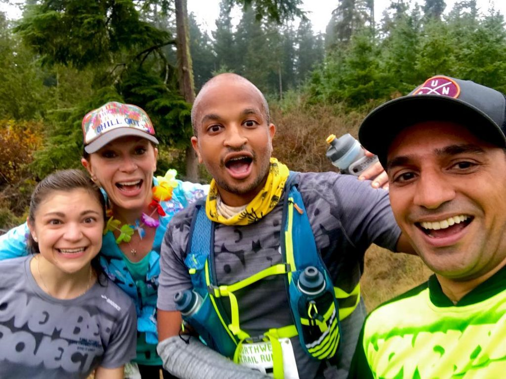 Johnny, pictured at a local trail race with friends from November Project Seattle