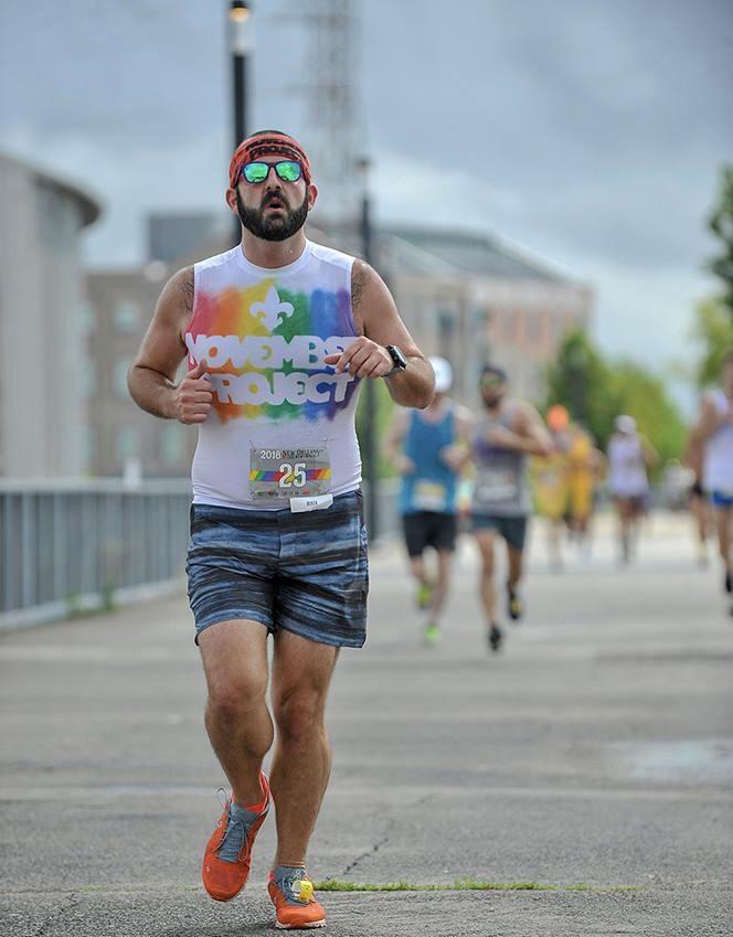 Moris runs in the Pride Run