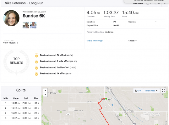 Strava Profile for Nike Peterson