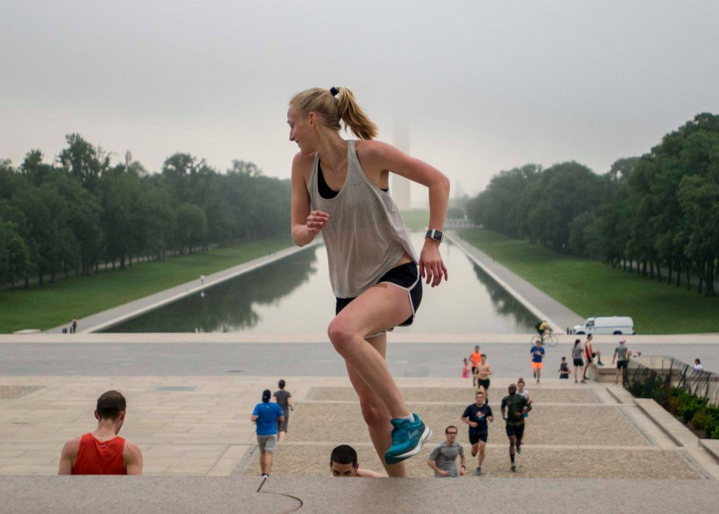 Maddie runs the stairs at the Lincoln Memorial, where NP works out on Wednesdays