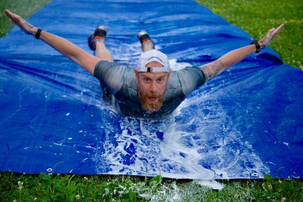 Bojan Mandaric on a slip-n-slide